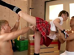 Flexible gal Fucks Two Guys In The Gymnasium