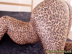 Supple asian cosplay babe in leopard bodysuit creampied