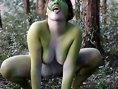 Stark bare Japanese corpulent frog lady in the swamp HD