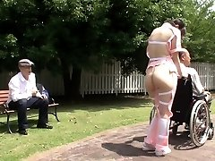 Subtitled extreme Japanese half stripped caregiver outdoors