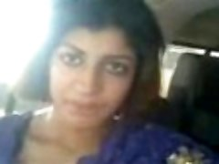 hot indian chick flasing her boobs and vulva to bf at car
