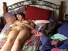 Lusty Indian babe with immense all-natural boobs fingers her snatch
