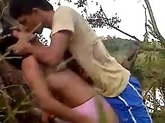 22 Lovers recording their stiff penetrate in jungle