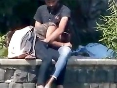 Desi couple having sucky-sucky and fingering in public park