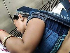 Desi Rajasthani Bhabhi steaming belly in Bus