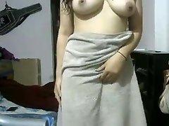 Indian GF After Shower Demonstrating Herself Naked On Webcam