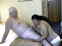 Chunky babe from India crinding on white old dude's good-sized cock