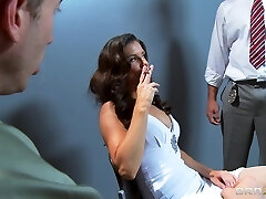 Busty sex-positive brunette India Summer is gangbanged by two cops