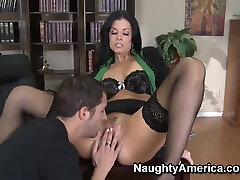 Rough fuck of chic cougar India Summer in fancy black stockings and Kris Slater