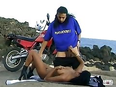 Steaming Indian Girl Dai Lany on Motorbike
