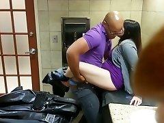 Cute Beautifull Woman Torn Up In Mall Toilet
