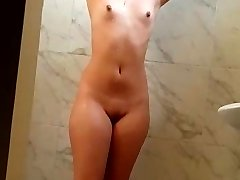 Beautiful wife bathing naked in shower hot wet pussy boobs