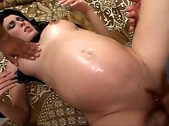 Dark-hued haired future mom fucked while preggo
