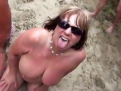 Naked Beach - Matures Bukake Party