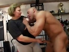 good-sized grandma does anal in the gym