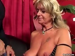 Grandmother enjoys anal plumbing machine