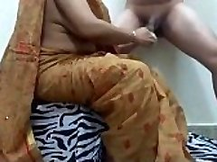 aunty pruning man-meat getting ready boy for fuck. ganu