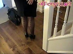 Büyük Memeli Çorap Sekreter Olgun