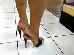 Mature legs & feet in high heels mules (greatest of)