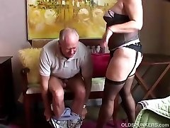 Old spunker in sexy stockings enjoys to suck cock & eat cum