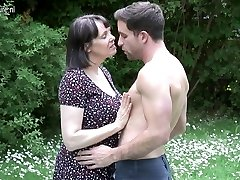 Big breasted British MOM fucking not her sonnie