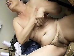 Crazy Old chubby Granny Milking with dildo