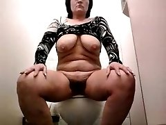 Selfie. Masturbation and an orgasm in the restroom at work