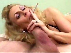 Hot Mature Blonde Smoking Blow-job (short clip)