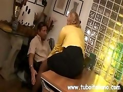 Blonde Italian MILF makes out with the boss while her spouse observes