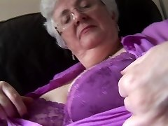 Granny with massive boobs upskirt no undies tease