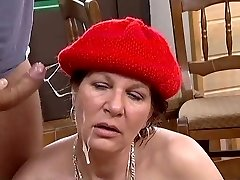 Clean-shaven Pussy Mature is Banged Good