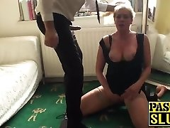 Stunning blonde mature deepthroats and gets fucked by a ample cock