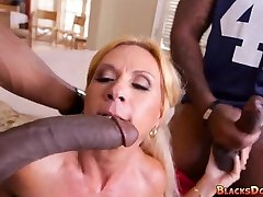Blonde Mom gets Dark-hued Cock on gameday