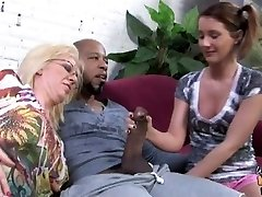 Dark-hued creampie for milky mom and daughter