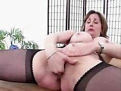 Mature Suspender Tights Pantyhose Poon Spread