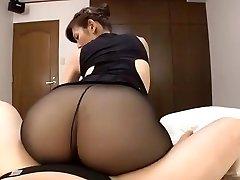 Japanese mature dark-hued pantyhose hump