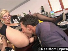 RealMomExposed - Caught with finger in gash she gets fucked by the boss