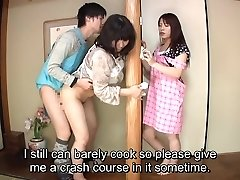 Subtitled Japanese risky lovemaking with sensual mother in law