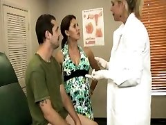 Funny medical tugging threeway with buxomy couple