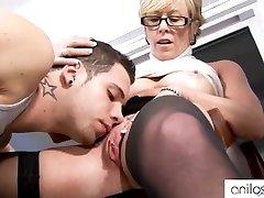 Lewd granny seduces student