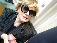 Cougar in patent thigh boots cum tasting tour