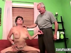 Granny tears up while husband watches