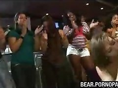 Stripper shoots a load on sexy dame at party