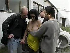 German mature bitch enjoys outdoor gang-bang