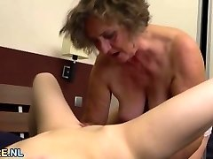 Titty brunette and a furry granny licking out each other