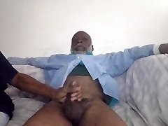 Black Grandapa dick deep throated by girlfriend & mom ghetto cunt