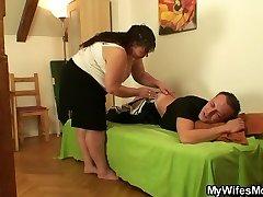 Round girlfriends mom satiates him