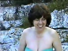 a hairy mature wifey first time nude on a nudist beach