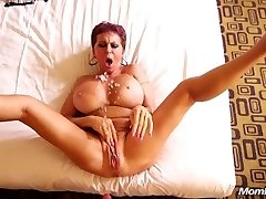 Busty Euro GILF squirts on a young beef whistle