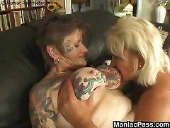 Tattooed lezzie granny ravaged